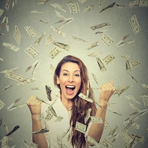 Raining Money Winning Woman