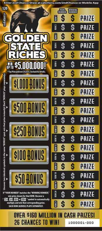 CA Lotto Golden State Riches Scratch Off Game