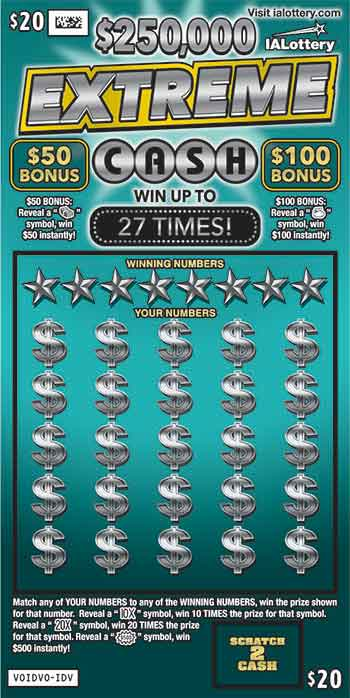 IA Lottery $250,000 Extreme Cash Scratch Game