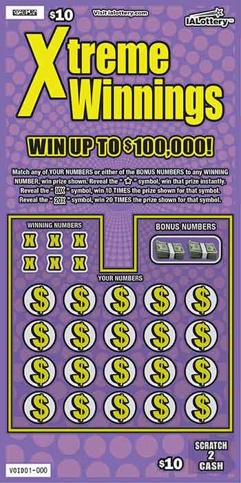 IA Lottery Xtreme Winnings Scratch Off Ticket