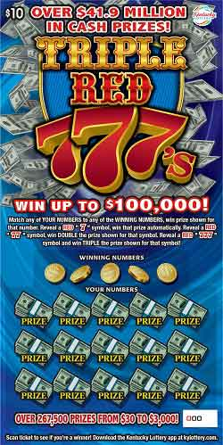 KY Lottery Triple Red 777s Scratch Off Ticket
