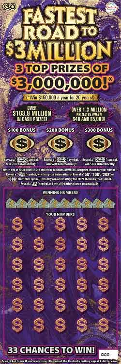 KY Lottery Fastest Road to $3 Million Scratch-Off