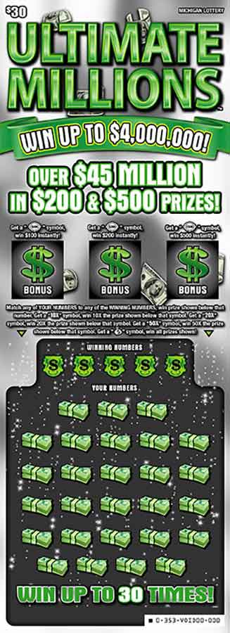 Michigan Lottery Ultimate Millions Scratch Off