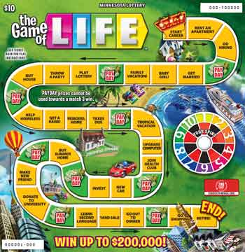 MN Lottery The Game of Life Scratch Ticket