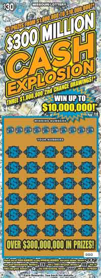 MO Lottery $300 Million Cash Explosion Scratch Off