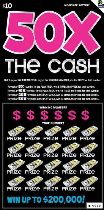 MS Lottery 50X the Cash Instant Game