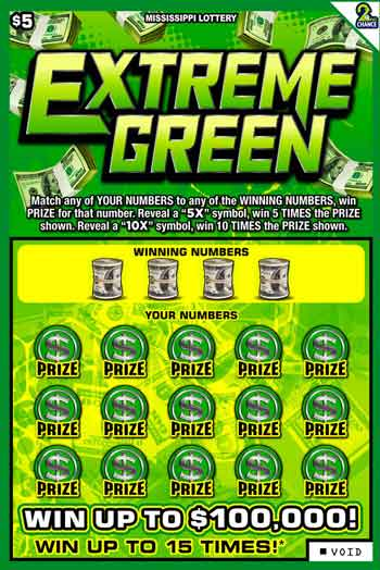 MS Lottery Extreme Green Scratcher