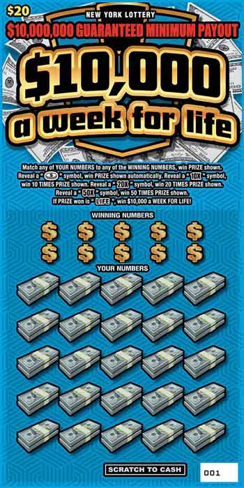 NY $10,000 a Week for Life Scratch Off
