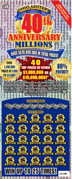 Ohio Lottery 40th Anniversary Scratch Off