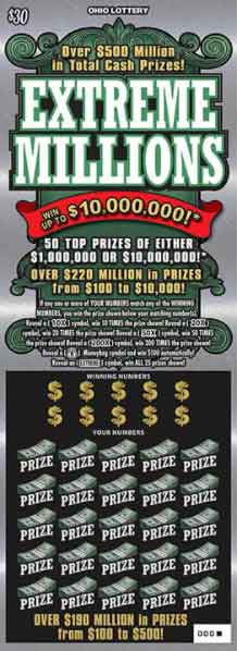Ohio Lottery Extreme Millions Scratch Off