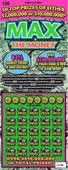Ohio Lottery Max the Money Scratch Off