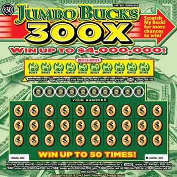 TN Lottery Jumbo Bucks 300X Scratch Off
