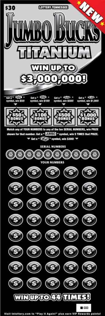 TN Lottery Jumbo Bucks Titanium Scratcher