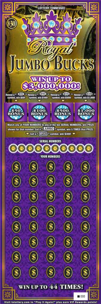 TN Lottery Royal Jumbo Bucks Scratch Off