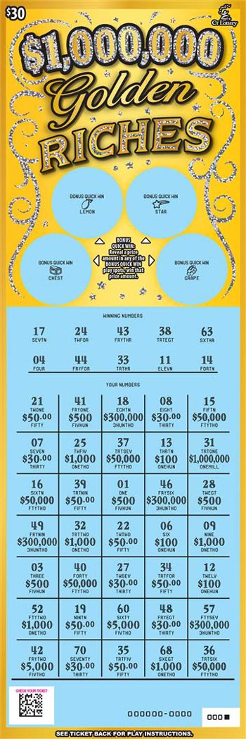 CT Lottery $1,000,000 Golden Riches Scratch Off