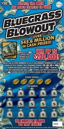 KY Lottery Bluegrass Blowout Scratch Off